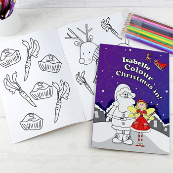 Personalised Christmas Fairy Colouring Book with Pencils