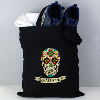 Personalised Sugar Skull Black Cotton Bag