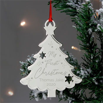 Personalised My First Christmas Metal Tree Decoration