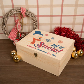 Let it Snow Wooden Personalised Christmas Eve Box
