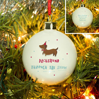 Personalised HotchPotch Dachshund Through The Snow Bauble
