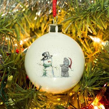 Me To You Tatty & Snowman Personalised Tree Bauble