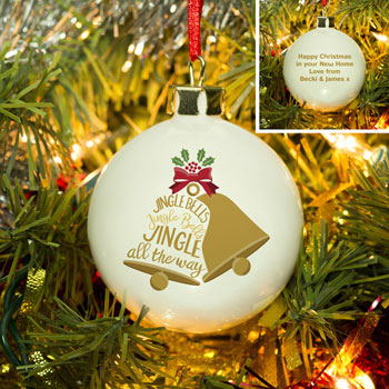 Personalised Jingle Bells Bone China Christmas Tree Bauble