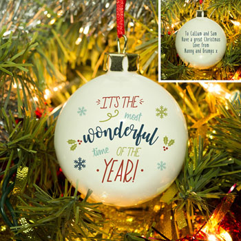 The Most Wonderful Time Of The Year Bespoke Tree Bauble