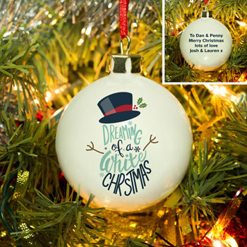 Personalised White Christmas Bone China Bauble
