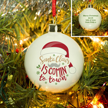 Personalised Santa Claus Is Comin' To Town Tree Bauble