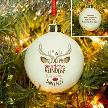 Rudolph the Red Nosed Reindeer Personalised Tree Bauble