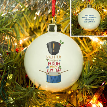 Bone China Personalised Little Drummer Boy Xmas Tree Bauble