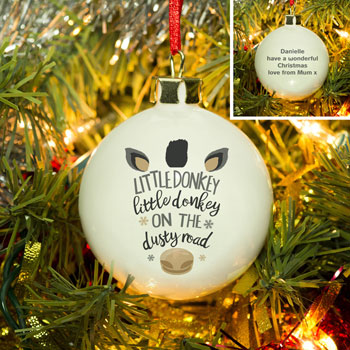 Personalised Bone China Little Donkey Christmas Bauble