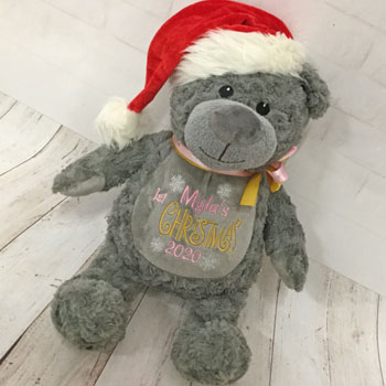 Kid's Personalised Embroidered Christmas Teddy Bear Grey