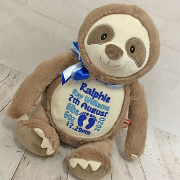 Personalised Embroidered Cubbies Clingy Sloth Teddy Soft Toy