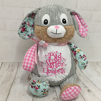 Girl's Personalised Cubbies Harlequin Pink Bunny Soft Toy