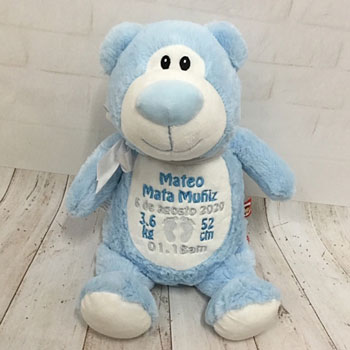 Personalised Cubbies Cubbyford Blue Teddy Bear