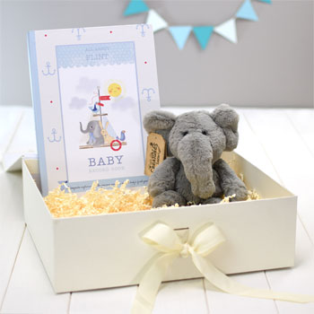 Personalised Baby Boy Record Book with Plush Elephant Toy