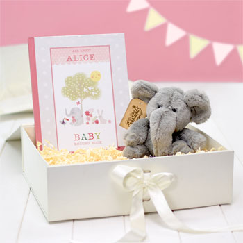 Personalised Baby Girl Record Book with Plush Elephant Toy