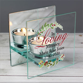 Personalised In Loving Memory Christmas Tea Light Holder