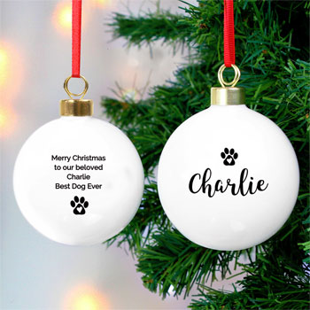 Personalised Pet Christmas Tree Bauble For Dog or Cat