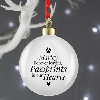 Personalised Pawprints Ceramic Pet Memorial Bauble Dogs Cats