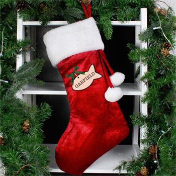 Personalised Cat Treats Luxury Red Christmas Stocking