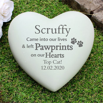 Personalised Pet Pawprints Heart Memorial Dogs or Cats