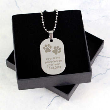 Personalised Pawprints Dog Tag Memorial Necklace