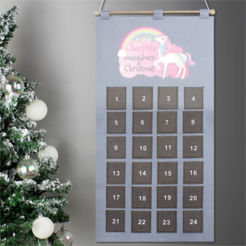 Girl's Personalised Silver Christmas Unicorn Advent Calendar