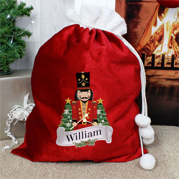 Children's Personalised Nutcracker Red Christmas Sack