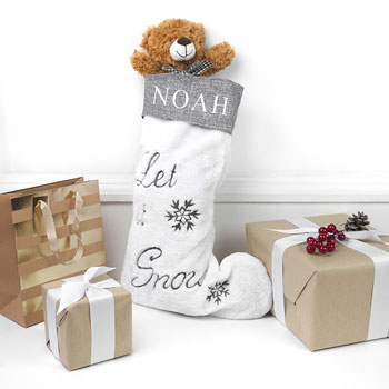 Personalised Let it Snow Luxury Christmas Stocking