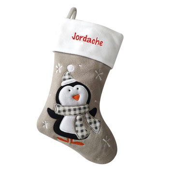 Grey Penguin Personalised Christmas Stocking