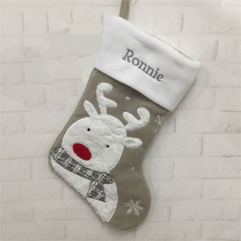 Personalised Grey Reindeer Christmas Stocking