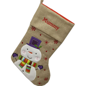 Personalised Hessian Snowman Christmas Stocking