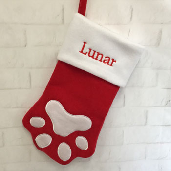 Personalised Felt Paw Print Pet Christmas Stocking