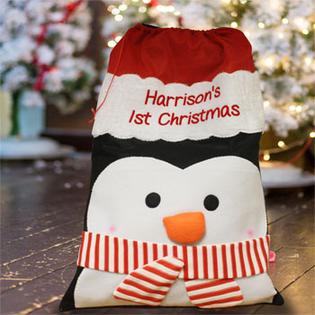 Kid's Personalised Penguin Plush Christmas Santa Sack