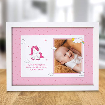 Girl's Personalised Unicorn Photo Upload A4 Print