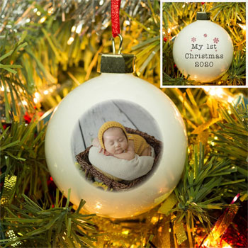 My 1st Christmas Photo Upload Christmas Tree Bauble
