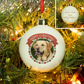 Merry Christmas Pet Bone China Personalised Photo Bauble