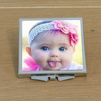 Personalised Photo Square Compact Handbag Mirror