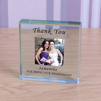 Large Personalised Glass Bridesmaid Photo Thank You Token