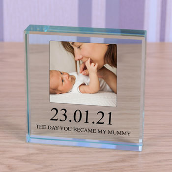 Large Personalised Glass New Mummy Photo Keepsake Block