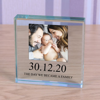 The Day we Became a Family Large Glass Photo Token