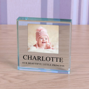Large Personalised Glass Photo Keepsake Token - Any Message