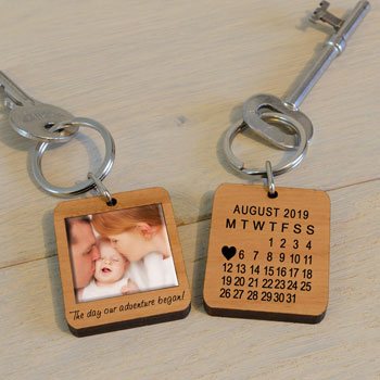 Wooden Photo Key Ring The Day Our Adventure Began
