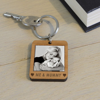 Personalised Wooden Photo Keyring Me &...