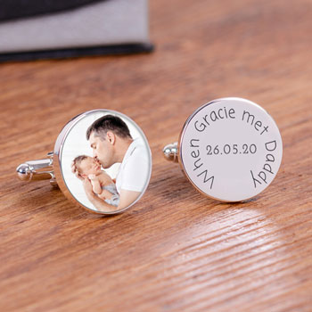 When Baby Met Daddy Personalised Photo Cufflinks