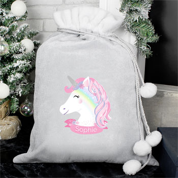 Personalised Christmas Unicorn Luxury Silver Pom Pom Sack