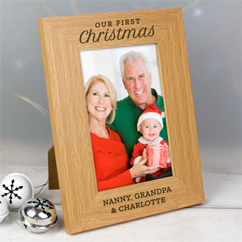 Personalised Our First Christmas 4x6 Oak Finish Photo Frame