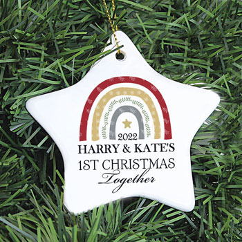 Personalised Christmas Lockdown Ceramic Star Decoration