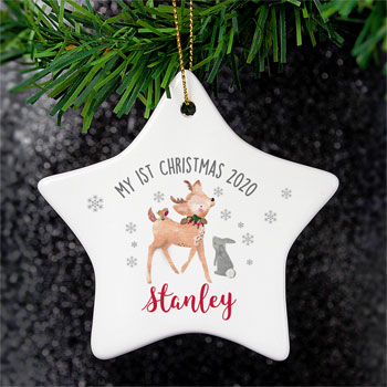 Personalised 1st Christmas Festive Fawn Ceramic Star