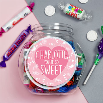 Personalised You're So Sweet, Pink Sweet Jar Valentine's Day