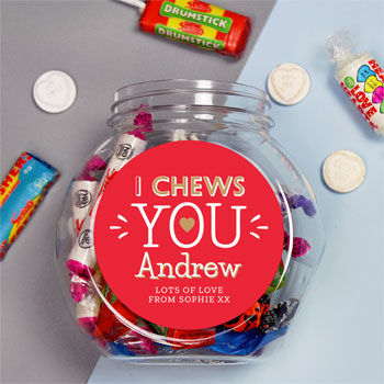 Personalised I Chews You Sweet Jar Valentines Day Gift